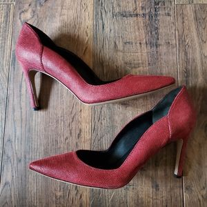 Via Spiga Red Leather Textured Ramona Pumps